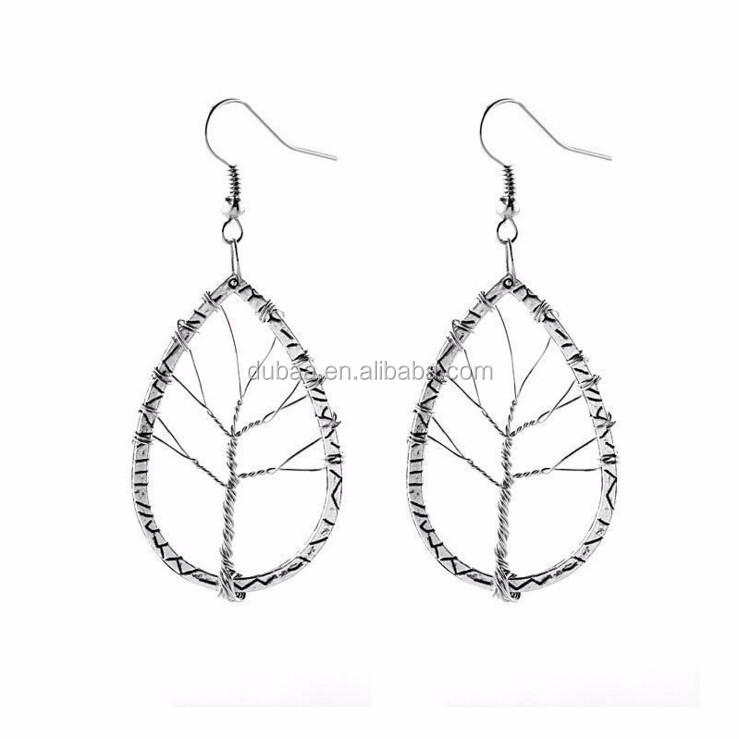 Life of Tree Hollow Out Drop Dangle Earrings Costume Jewelry Collection Teardrop Dangle Earrings 2017