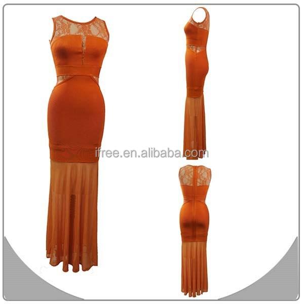 2014 gorgeous cocktail party orange lace long bandage dress