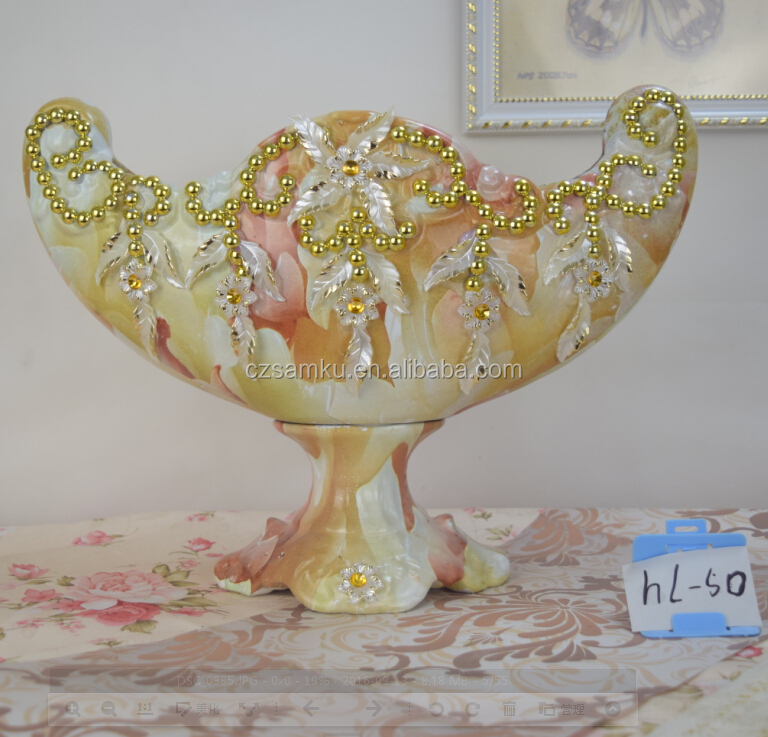 flower Coating new ceramic fruit candy bowl for european house decoration