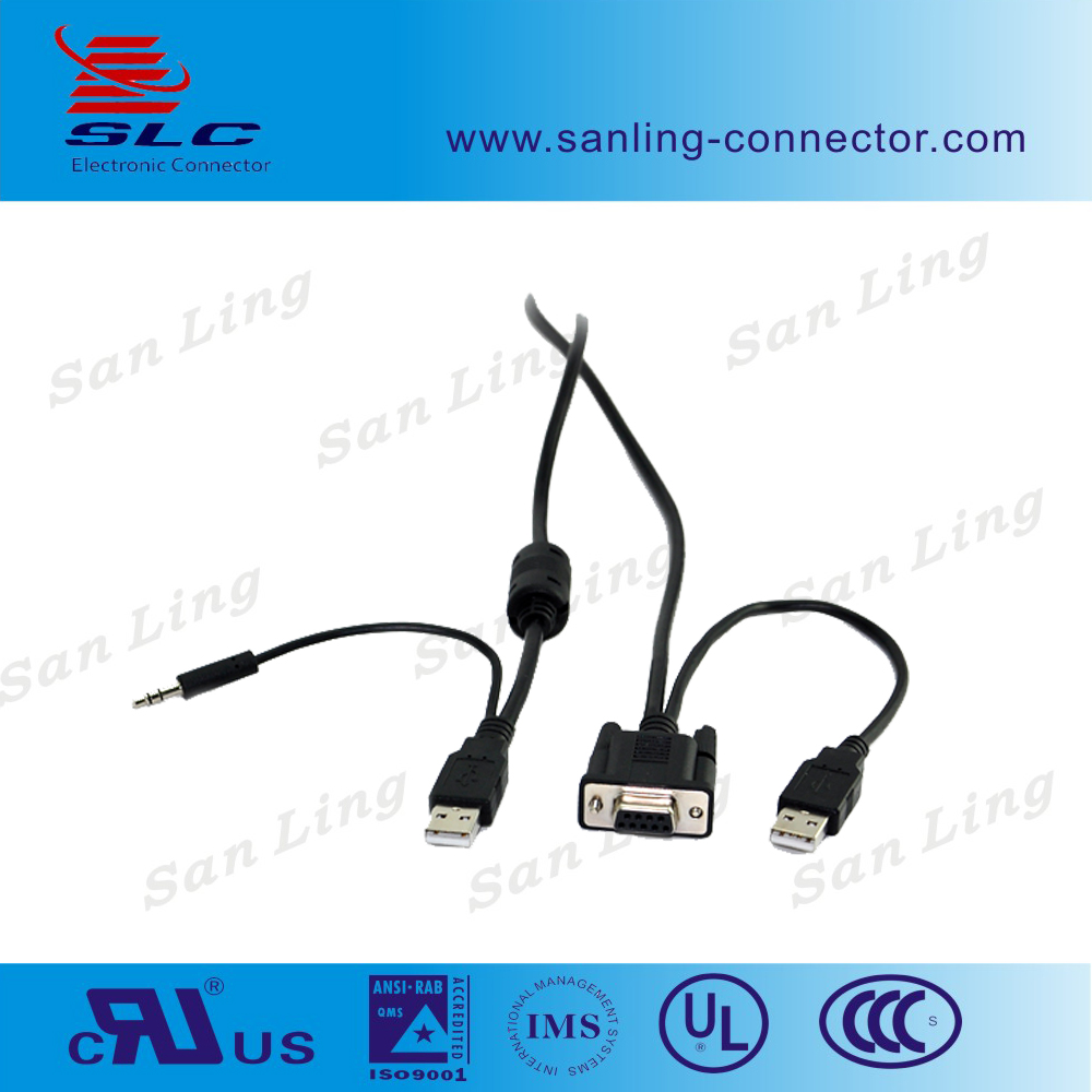 USB 2.0 to Seria DB9 RS232 Converter Cable fan out with 3.5mm audio jack