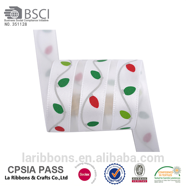 2015 Four color printing satin ribbon with christmas pattern