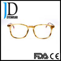 new fashion clear plastic acetate optical frame,hand polished optical glasses with metal temple
