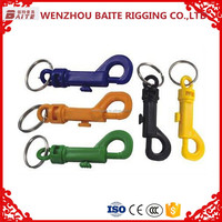 Manufacture price color solid round eye Plastic snap hook swivel spring bolt hook nose ring