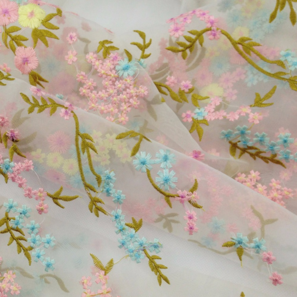 chiffon mesh flower embroidery fabrics for women clothes making BK-FB280