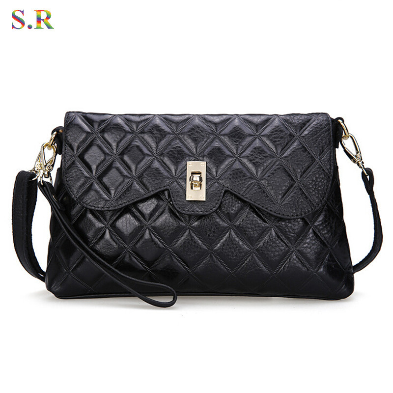 Korean 2015 Genuine Leather Bag Women Shoulder Messenger Bags Female Desigual Diamond Lattice Handbag Fashion GB075