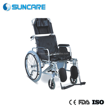 SC8020C High Quality Aluminum Detachable Reclinging Toilet Chair Commode Wheelchair with plastic commode