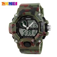 skmei 1029 g style shock watch multiple time zone led analog clock army men camo 6 colors 50m waterproof diver sports watch
