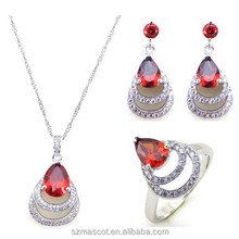 Latest Party Girls White Gold Plating Fashion wedding Silver Jewelry Sets, wholesale gothic jewelry