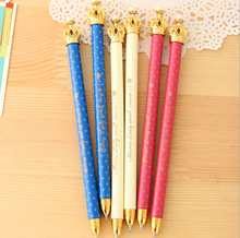 Plastic Carton Cartoon crown ball pen cute creative pen office student learning supplies gifts.