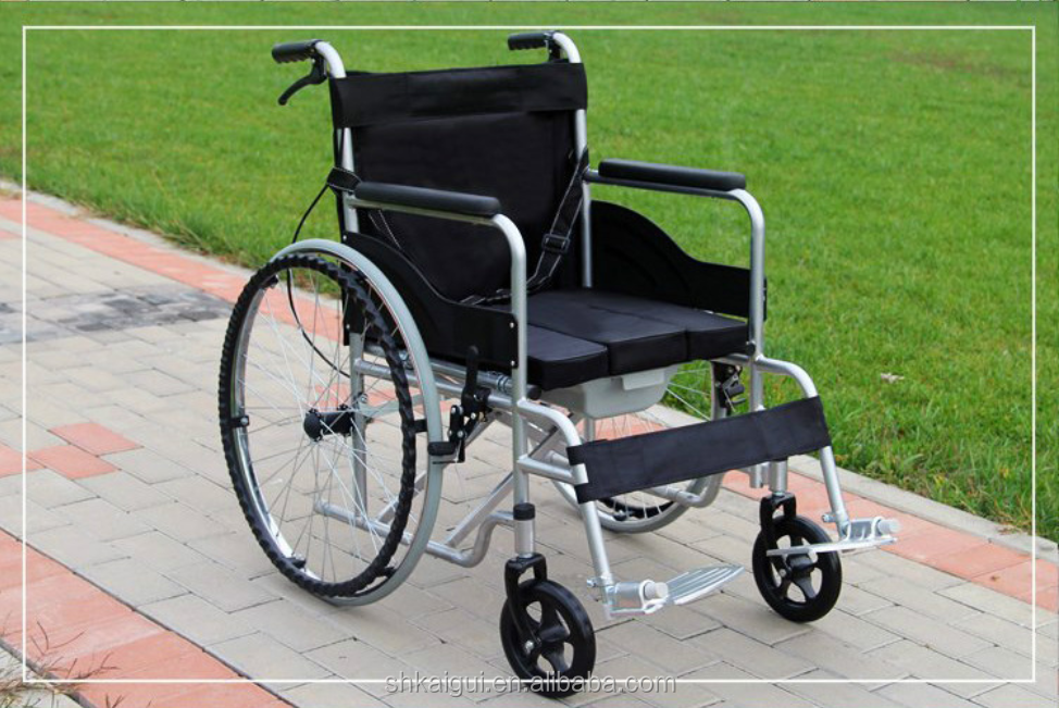 Very Cheap Wheelchair with ABS bedpan potty chair with wheel