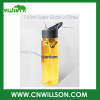 Supply cheap logo printed new design single wall BPA free 750ml plastic tritan bottle with drinking straw lid