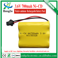 Popular 3.6v 700mah rechargeable battery 3.6v ni-cd batteries Ni cd AA nickel iron batteries for sale