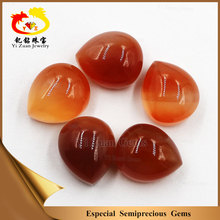 Factory wholesale flat back pear shape polished raw natural red agate