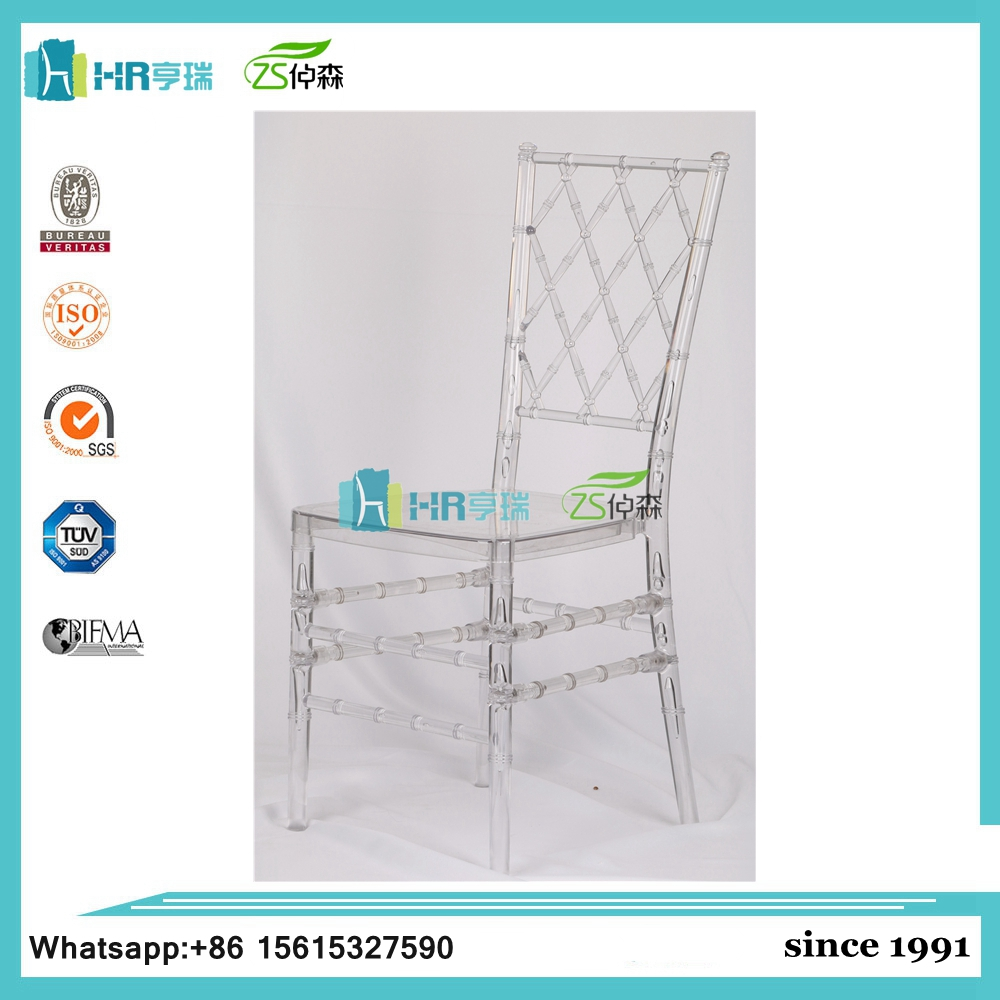 Outdoor resin plastic crystal chiavari napoleon diamond wedding chair