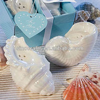 ceramic wedding gift sweet shellceramic salt and pepper shaker