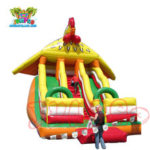 2018 Hot sales cheap cock theme inflatable bouncer castle with slide for kids and adults