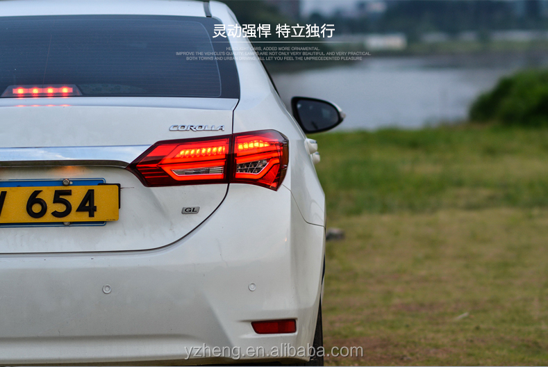 High quality Toyota 2014-2016 Corolla led taillamps with red and smoke color factory wholesale price
