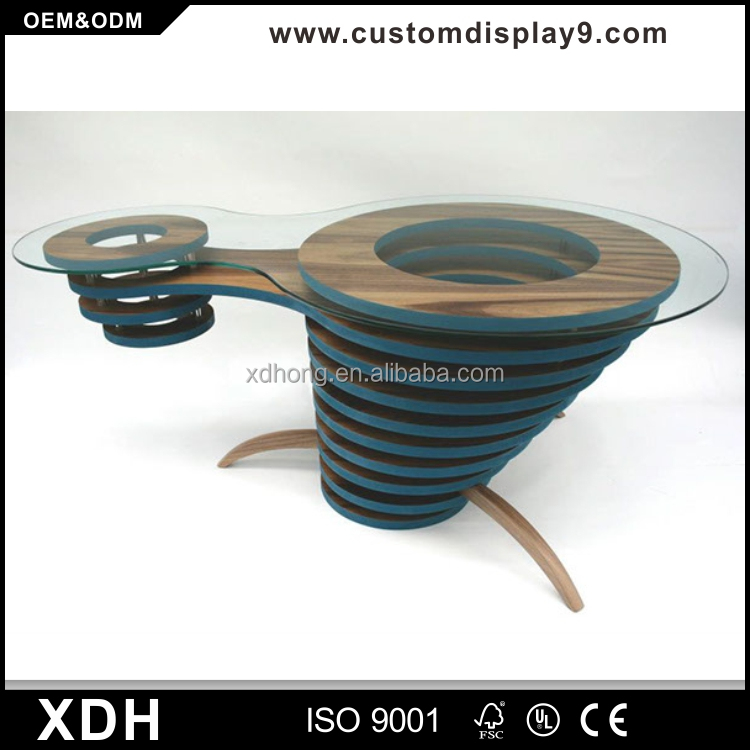 Unique design glass top coffee table wooden side table
