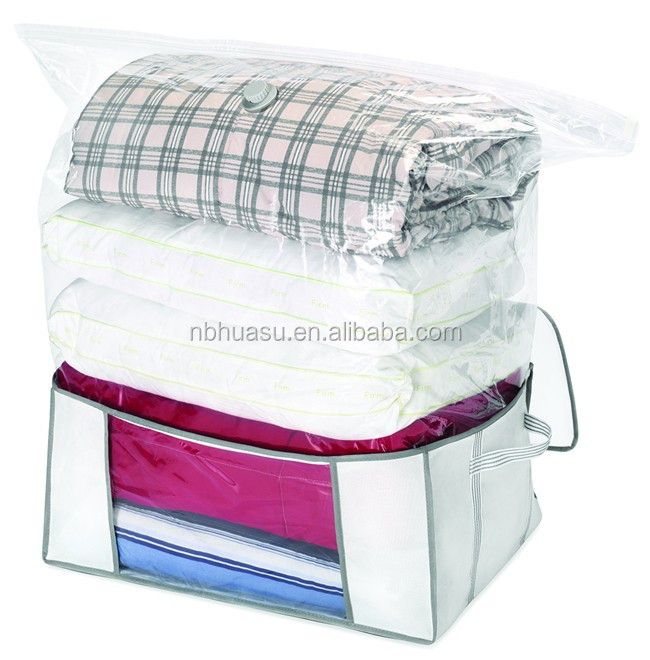 bag organizer with vacuum bag and canvas tote