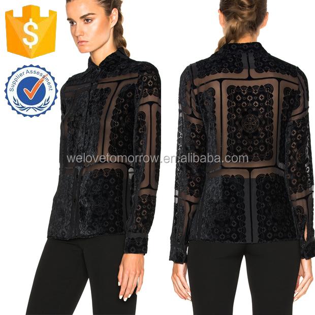 Lace Velver Burnout Fabric Long Sleeve Spring Women Shirt Manufacture Wholesale Fashion Women Apparel (TF0176B)