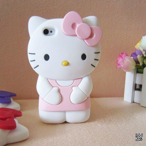 Hot selling custom cartoon 3d hello kitty silicone mobile phone case