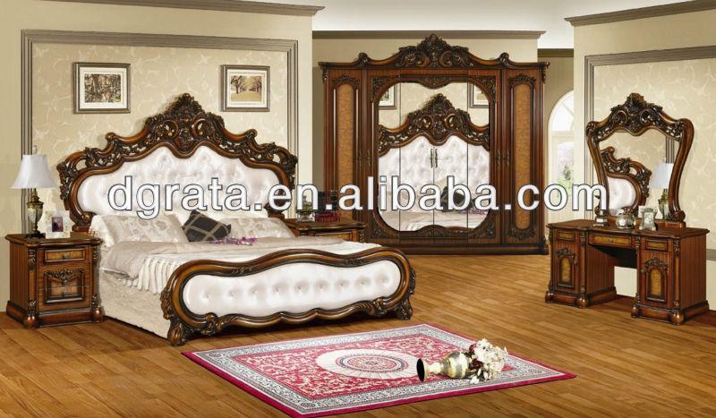 2013 clásico juego de dormitorio muebles usados de madera sólida