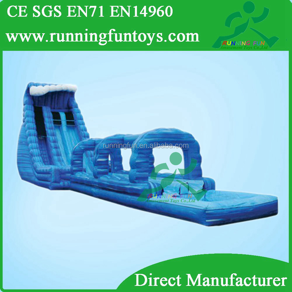 Kids long aqua park inflatable water slide for rent, inflatable splash slide
