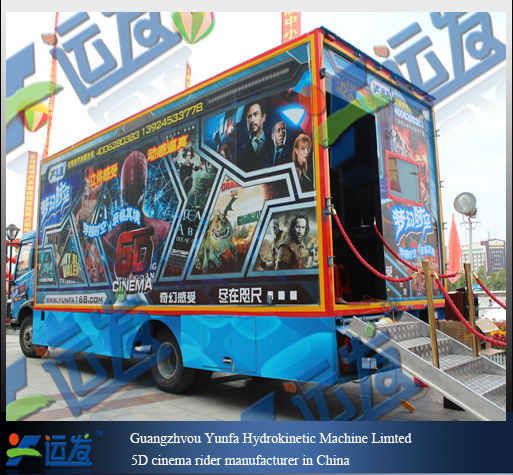 Attractive dynamic 5D theater electric and hydraulic truck/Fashion truck mobile 5D cinema On Car