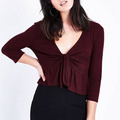 Newest 2018 blouses for lady tie front peplum hem women crop top