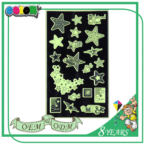 Green light custom glow in the dark dot moon stickers