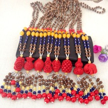 Healthy Red Cinnabar Long Bead Necklaces Ball Wooden Beads Charm Necklace For Women