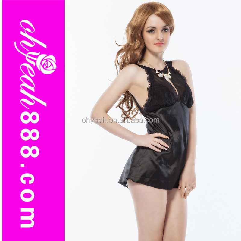 Paypal accept top fashion black sexy satin nightdress wholesale sexy lingerie open-back sex nightwear satin babydoll sex