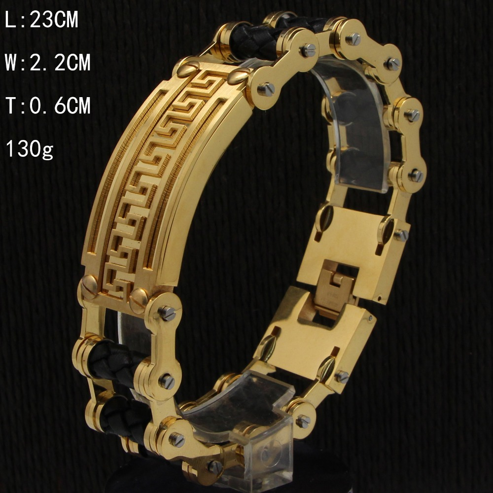 In Stock Stainless Steel Gold Plated Already Male Wide Heavy Motorcycle Bicycle Chain Link ID Bracelet Leather Bracelet