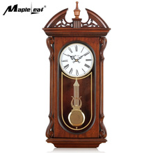 High Quality Antique Vintage Westminster Chiming Clock Rectangular Wooden Pendulum Wall Clock for Home Decoration