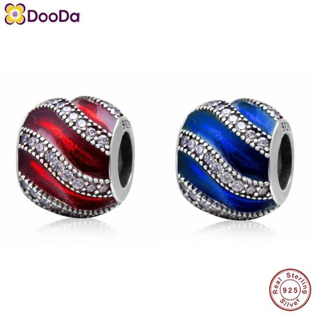 Dooda Jewelry Adornment Translucent Bead with Clear CZ Stones Authentic 925 Sterling Silver Enamel Charm for 2018 European Brace
