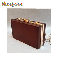2016 new Fashion Women dark Wooden Bag Box Bags Clutch Personality Evening Bag