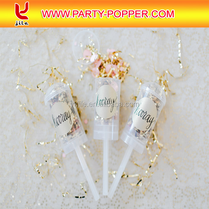 Push Up Wedding Confetti Popper With Paper Or Foil Shapes