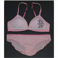 Lovely Pink Young Girls Soft Microfiber Underwear Set Cartoon Printing