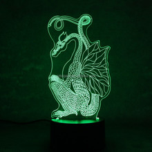 3D Optical Illusion Night Light Lamp with Dragon Shape LED Deco