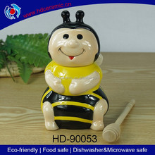 Smiling & cute ceramic honey pot,honey canister,storage jar with dipper