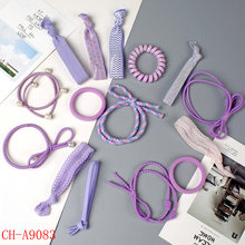 factory wholesale gift promotion bow tie knot hair accessories sets with gauze bag packing