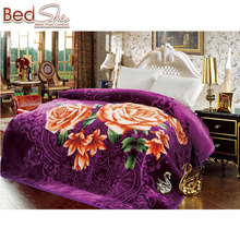 Tender touch high quality yiwu double size custom color cheap raschel blanket in china