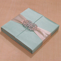2018luxurious & handmade sky blue wedding invitations cards with pink silk ribbon & party invitation cards