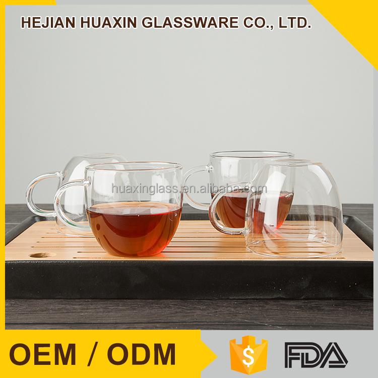 Shaped Unbreakable with Handle Bubble Tea Glass Cups