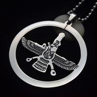 Black Enamel Stainless Steel Iranian Zoroastrian Round Farvahar Pendant Necklace 02 W/ Chain 60 Long