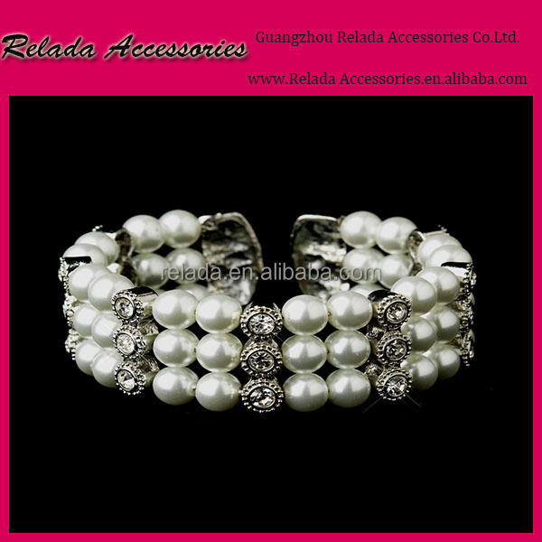 Fashion jewelry Elegant 3 line rhinestone pearl cuff bangle bracelet