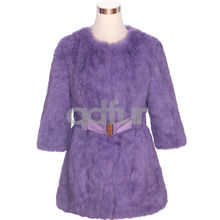 QD30536 New Design Korean Autumn Fashion Style 2014 Light Purple Rabbit Fur Coat for Girls
