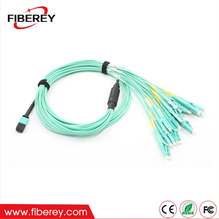 MTP MPO to LC Fan Out Multimode 12 fibers MPO Fiber Optic Patch Cord with Reasonable Price