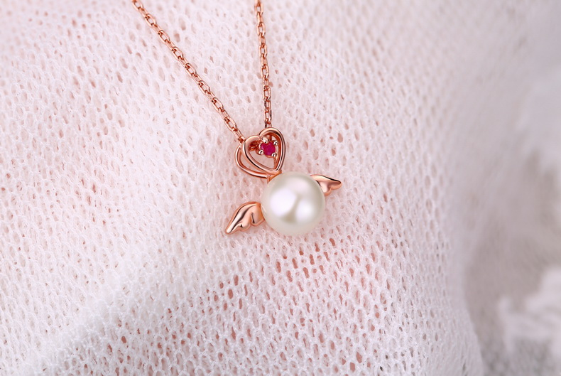 High Quality Angel Wings Pearl Rose Plated Pendant Jewellery With Natural Ruby