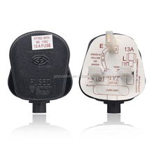 UK plug with SASO certificate approval BS1363 fuse CE approved 3 pin 13 amp electrical plug plastic screw plug